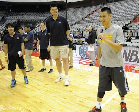 October 12, 2013 - Jeremy Lin and Yao Ming at an NBA Cares Special Olympics Clinic in Taipei, Taiwan