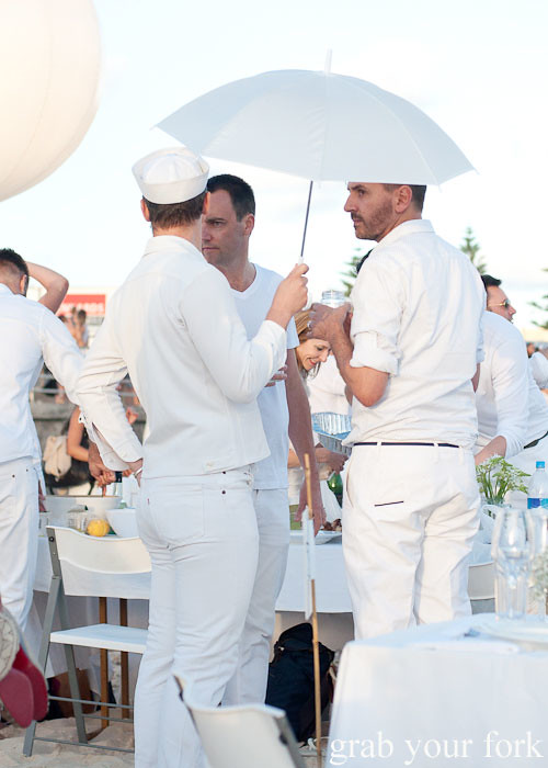 Sailors and white umbrellas at Diner en Blanc Sydney 2013 Bondi Beach