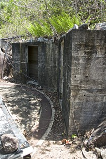 magazines at rear of WW2 gun battery