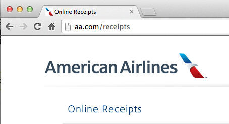 American Airlines Baggage Receipt