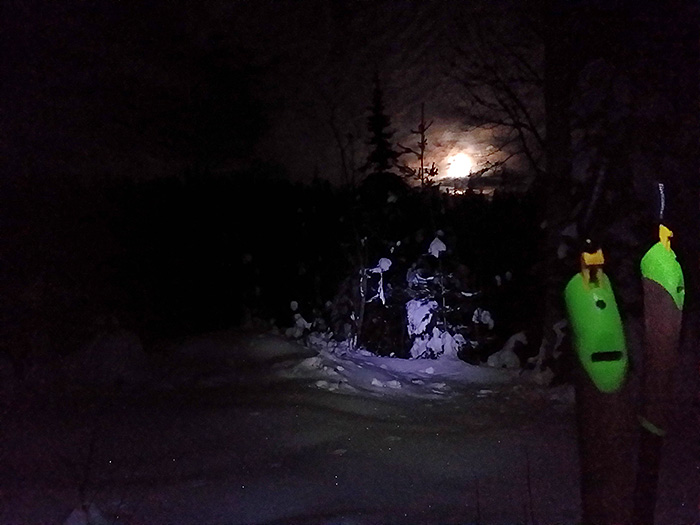 The boys were working on technique with their coaches, while I skied with the full moon.