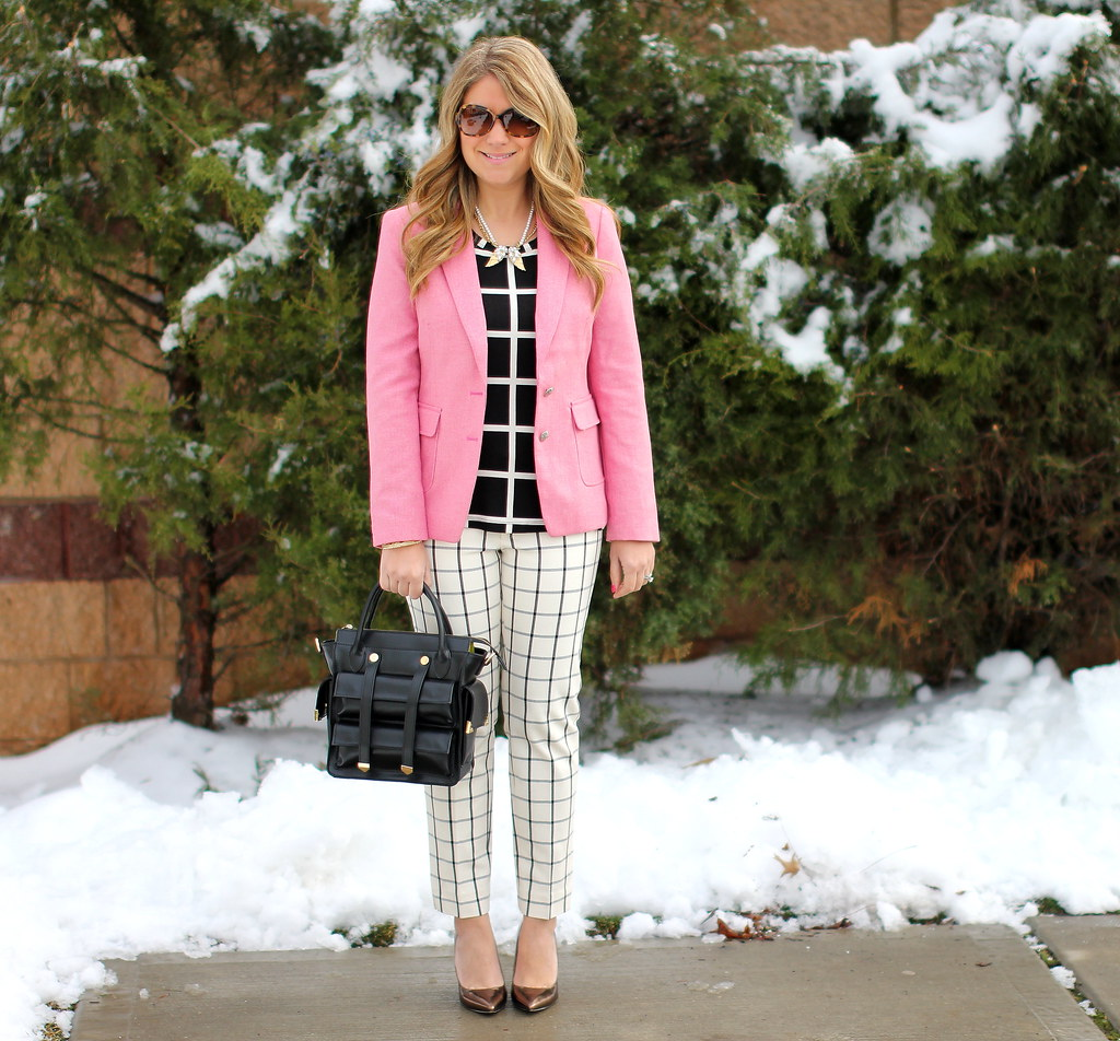 Window pane print work outfit