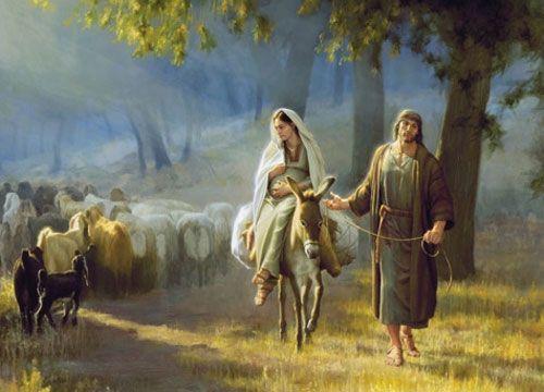 María y José llegando a Belén