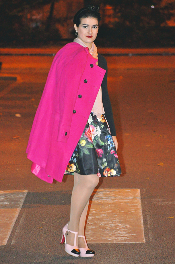 something fashion winter floral ted baker skirt, flowtii full flower skirt, feathers headpiece 50's inspired swirl updo, pink coat christmas partying outfit