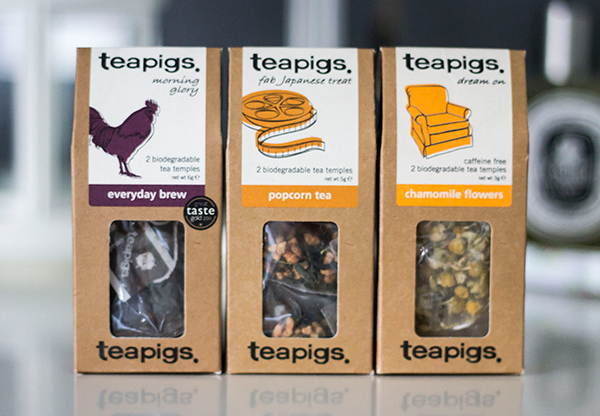 teapigs mix n match everyday brew, popcorn tea and chamomile flowers