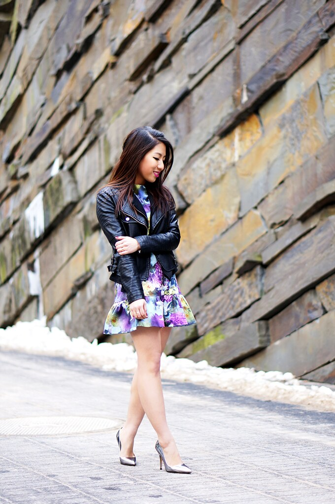Petite Hues Blog, Drop Waist Dress, Faux Leather Motorcycle Jacket, Kate Spade Licorice Pumps, Silver Heels