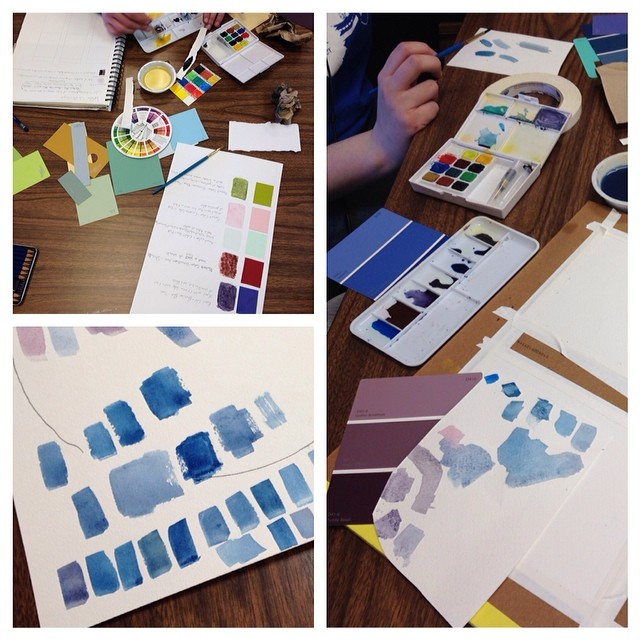 Snapshots from class today. The color mixing and matching process.