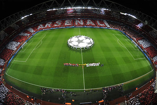 Arsenal and Bayern Munich line up before the match
