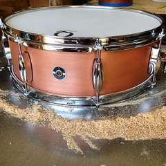 "This is the copper snare that went to a drum set we posted a couple of weeks ago. 5X16 Copper plate. Will sound great with the 28"" bass drum!! #qdrumco #sixteeninches #copper #snare"