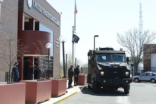 Coast Guard and Philadelphia Police and Fire Department personnel hold an active-shooter response exercise at Coast Guard Sector Delaware Bay in Philadelphia Wednesday April 16, 2014. The exercise involved a simulated active shooter, takedown and building sweep followed by training for first responders. U.S. Coast Guard photo by Petty Officer 3rd Class Cynthia Oldham