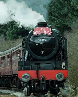 20170330-54b_The Royal Scot Engine 46100 leaving Levisham Station