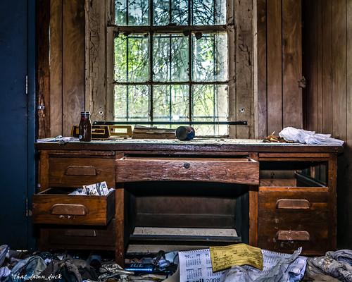 abandoned urbex urbanexplorer decaying desk window indoors