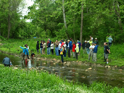 Image of Department of Environmental Protection staff leading a restoration walk at Booze Creek.