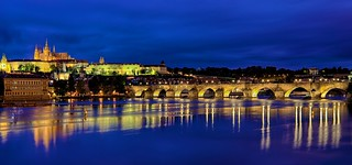 Prague Castle and Charles Bridge from distance