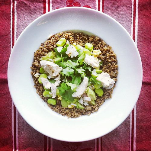Beans week. Recipe 1: #chicken broad #beans #coriander #avocado #shallot #quinoa #salad by Salad Pride