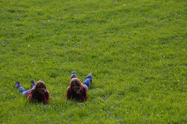 Tumbados en una pradera verde de Suiza