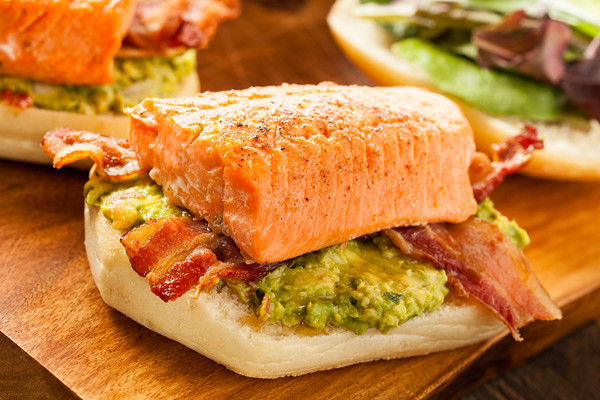 Grilled Salmon Sandwich with Bacon and Guacamole | Flickr - Photo ...