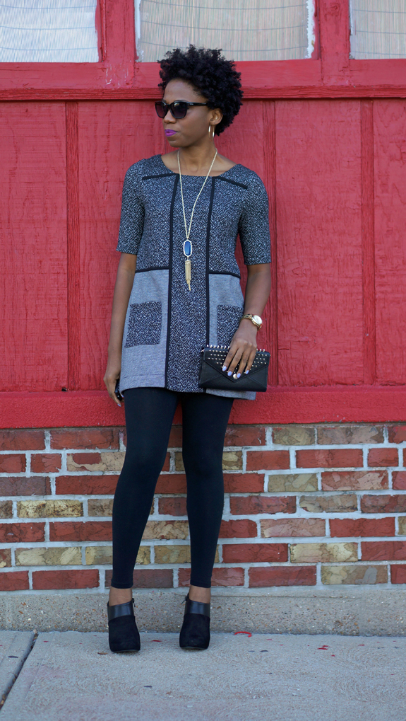 Anthropologie Mitzie Channeled Tunic, Fergalicious Regal Bootie, Rebecca Minkoff clutch 4C