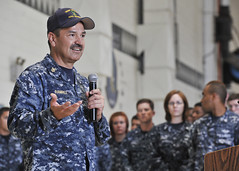 U.S. Pacific Fleet Master Chief Marco Ramirez talks with Sailors during an all hands call at Marine Corps Air Station Kaneohe Bay, Oct. 17. (U.S. Navy photo by Mass Communication Specialist 1st Class Amanda Dunford)