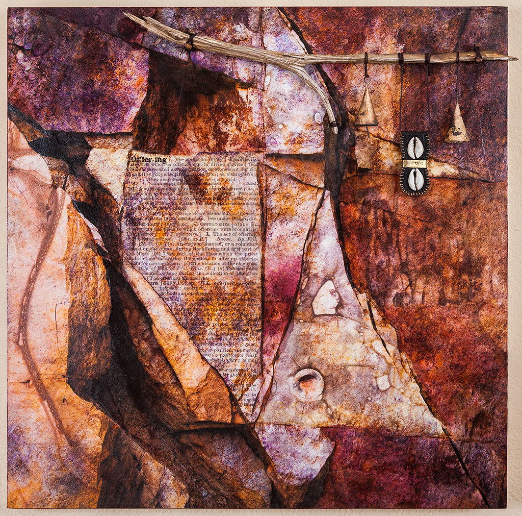 20 x 20 mixed media inspired by rock formations on the 89A just outside Jerome, AZ available - $475