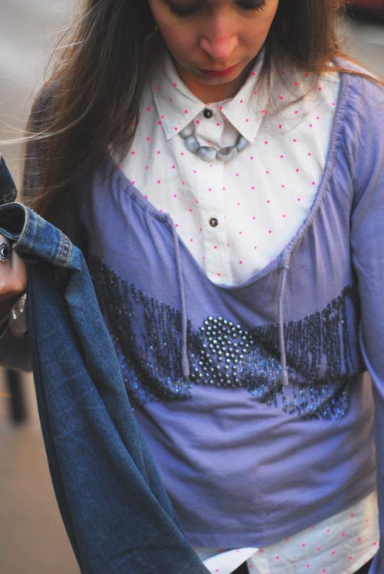 chemise à pois fluos