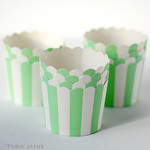 Mint & white stripe baking cups