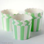 Mint & white stripe baking cups