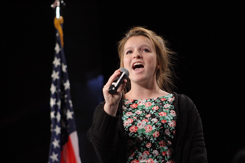 "Mary Mathis sings ""The Star Spangled Banner"""