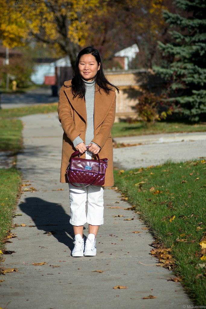 zara camel coat, camel coat with large lapel, burgundy quilted purse, converse rose sneakers, rwco turtleneck, target pants