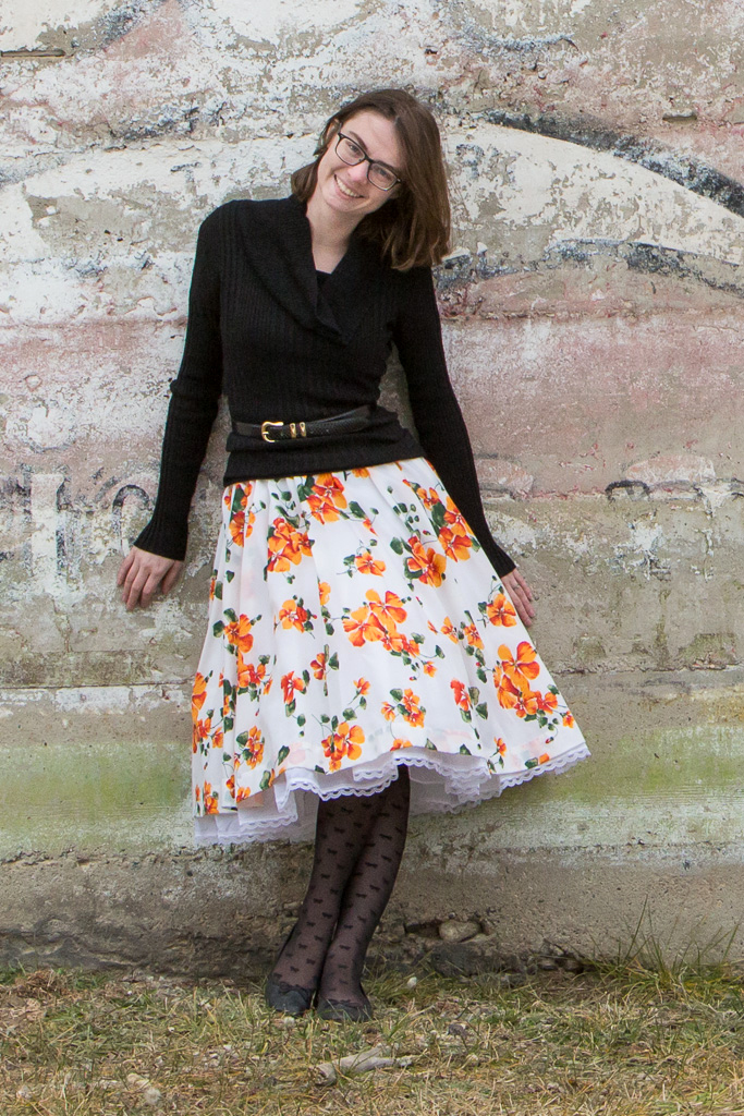 orange, floral, dress, floral dress, petticoat, vintage, mural, winter outfit, montana, wyoming,