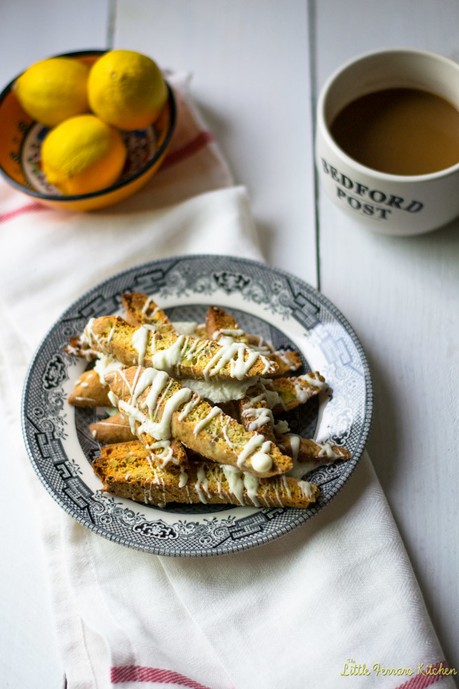 Lemon Pistachio and White Chocolate Biscotti via LittleFerraroKitchen.com