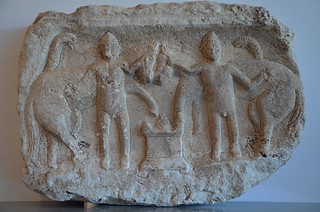 Marble relief of the Dioscuri (Castor and Pollux), Archaeological museum Narona, Vid, Croatia