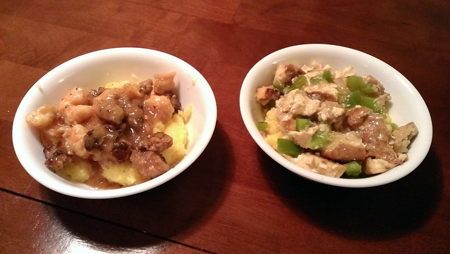 Grits dishes, one with shrimp and kielbasa, and the other with tofu