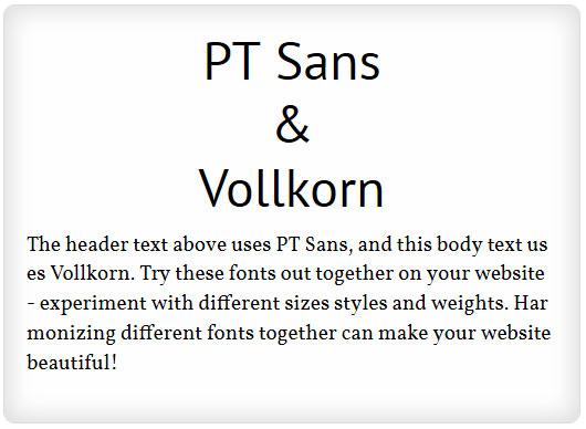 PT Sans and Vollkorn