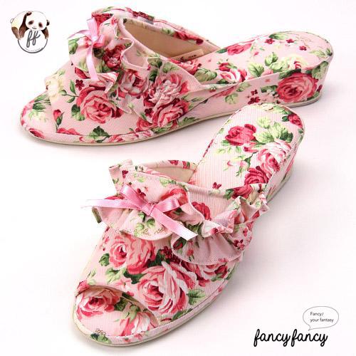 42.春暖花開甜美玫瑰低跟拖鞋(日本製)-粉紅