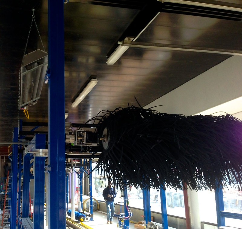 Black PVC Panels Installed On Ceiling Of Car Wash