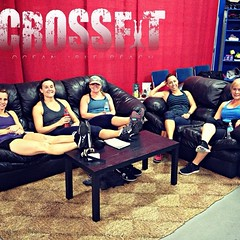 What\'s YOUR favorite post-workout routine? a. chilling in the lounge with your friends, b. laying in a puddle of your own sweat, c. snuggling with Fenway, or d. ________ ‪#‎crossfitoib‬ #crossfit #crossfitdog