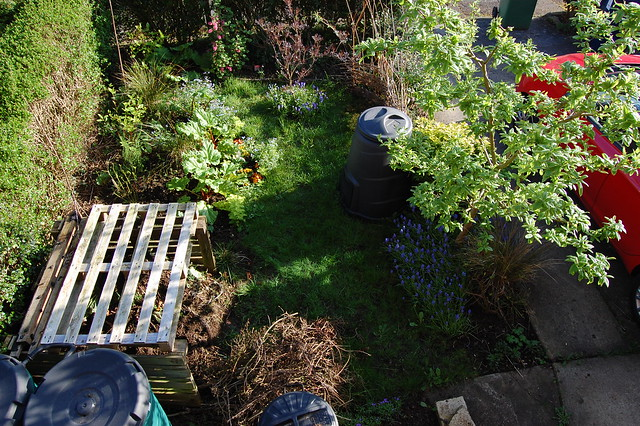 Looking down on the front garden
