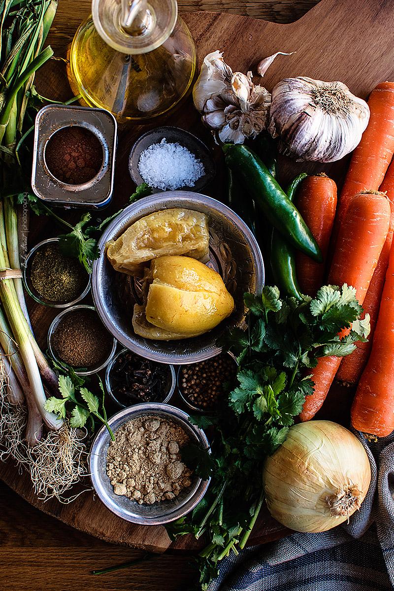 Gofres de garbanzo con zanahorias marroquíes