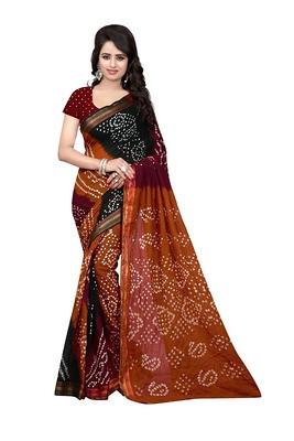 New Brown & Green Silk Cotton Bandhej Saree Sarees on Shimply.com