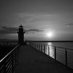 Lighthouse Sunset B&W
