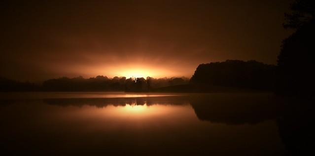 Night Lights in Approaching Fog