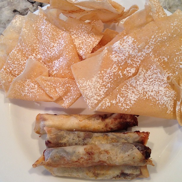 Chocolate banana spring rolls, spring roll wrappers with honey and ...