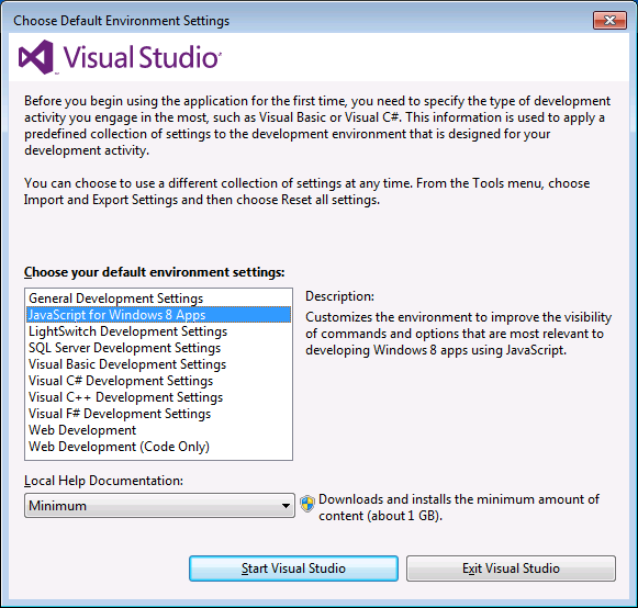 win 8 dev settings