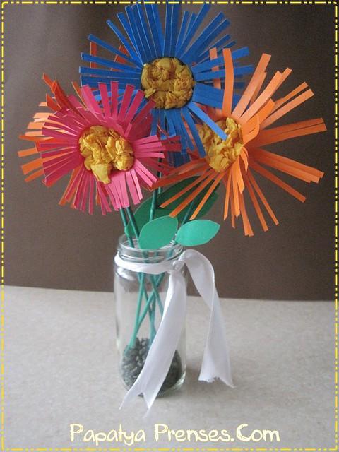 kartondan çiçekler 022
