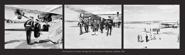 The President of Vietnam, Mr Ngo Dinh Diem arrives in Canberra, Australia, 1957