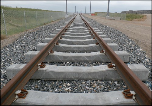 Perspective photo of tracks laid along the East Rail Line