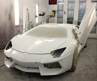 Chris Brown camouflage Lamborghini Aventador video and pictures