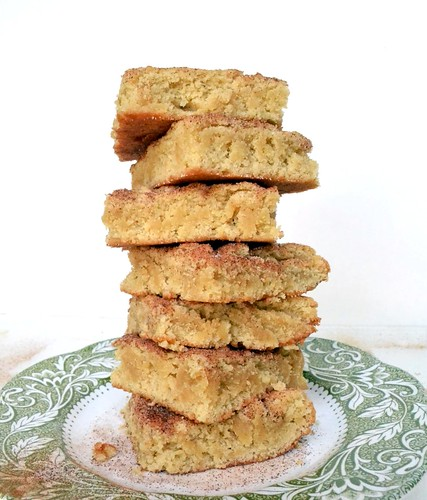 Snickerdoodle Blondies with cinnamon sugar