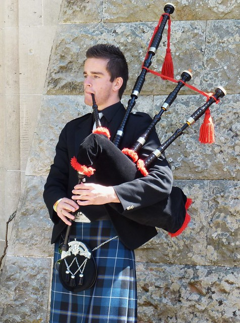 Playing the bagpipes